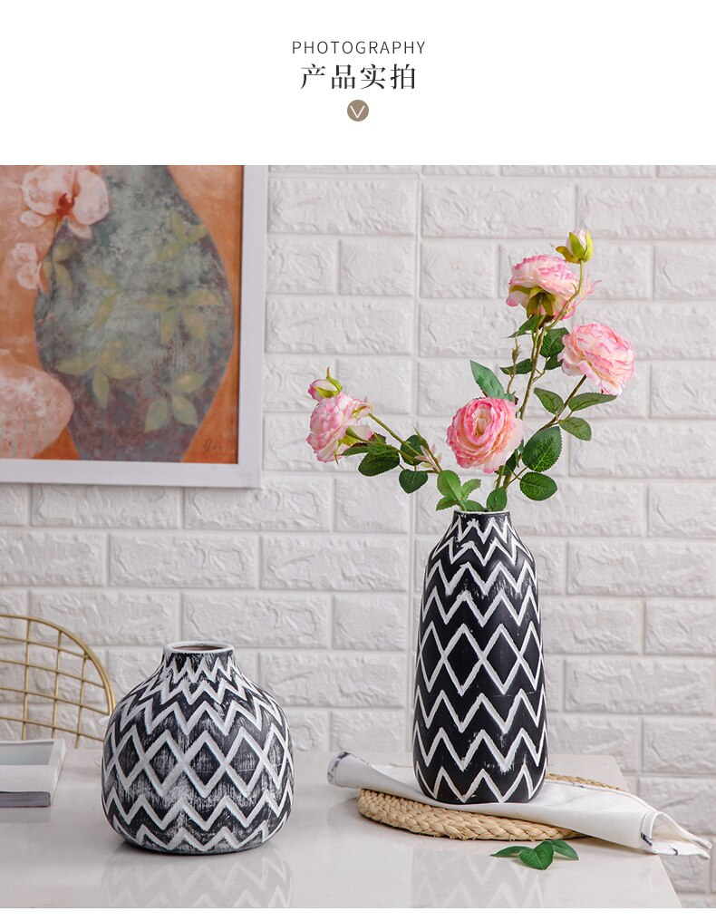 Nordic Creative Ceramic vase Retro Lozenge Home Flower arrangement Decorative ornaments Dried flower vase floreros de decoracion