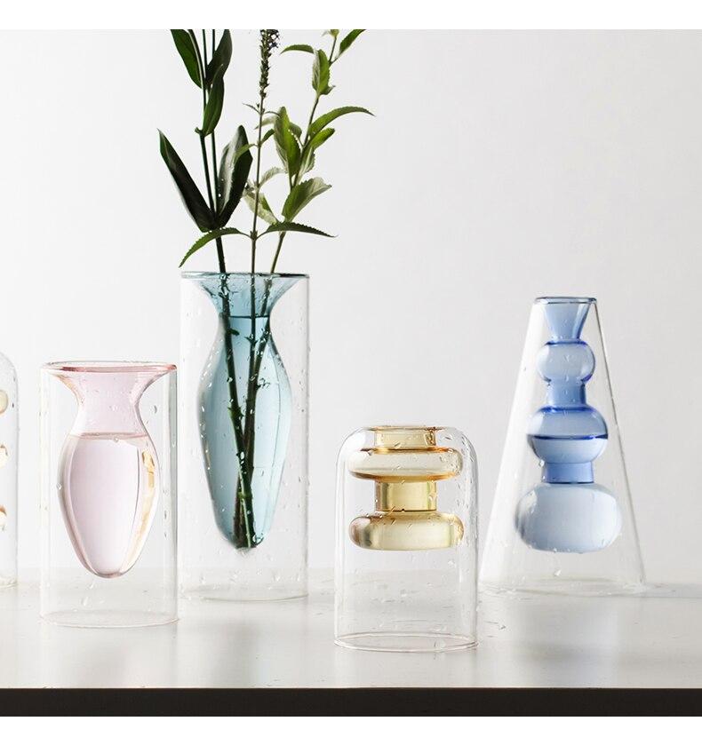 Nordic Creative glass vase Hydroponics Hollow color Transparent Flower vase Flower arrangement modern Living room decoration