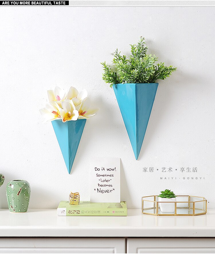 Creative Ceramics Wall Hanging Geometric Wall Vase Background Wall Decoration Suspension Flower Arrangement Modern Decoration