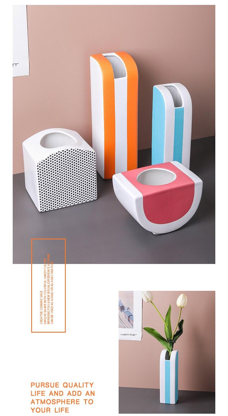Creativity Vase Ceramics Abstract Geometry Flower Vase Flower Accessories Modern Home Decoration Ceramic Vases Wedding