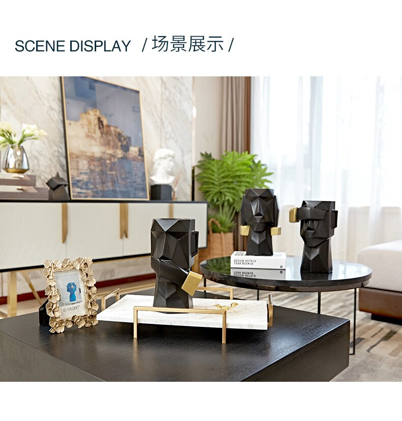 Creative Resin Abstract character Easter Island Statue Creative Home desktop storage Storage Modern decorative ornaments