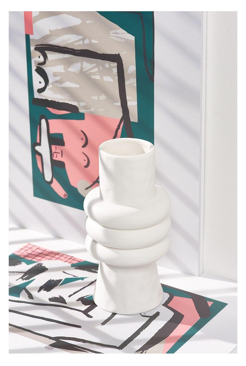 Creativity White Ceramic Vase Abstract Handmade Flower Arrangement Hydroponics Modern Home Decoration Wedding Flower Vases