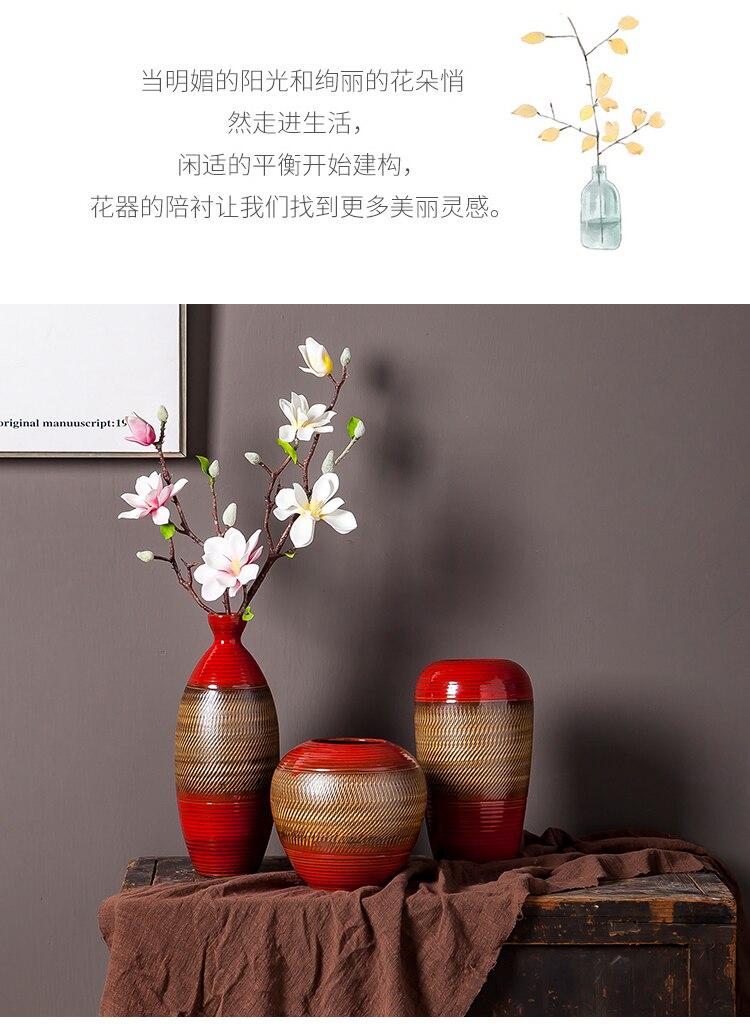 Creative Ceramics Vase Large Landing Red Retro Flower Arrangement Accessories Modern Chinese Home Decoration Furnishing