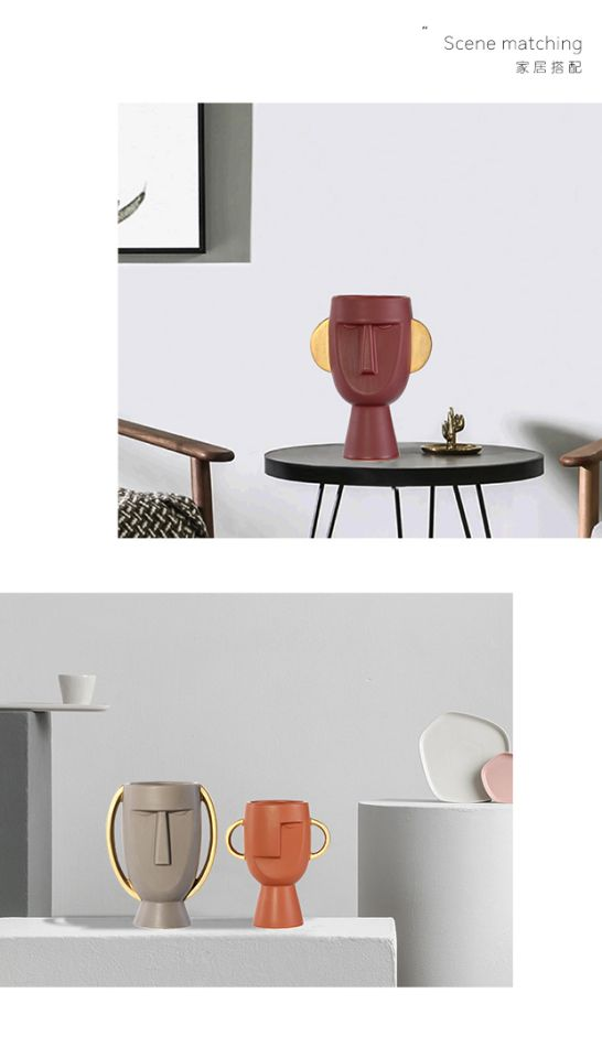 Modern Ceramics Human Head Abstract Vase Flower Pot Crafts Decoration Creative Home Flower Arrangement Decoration Wedding Vases