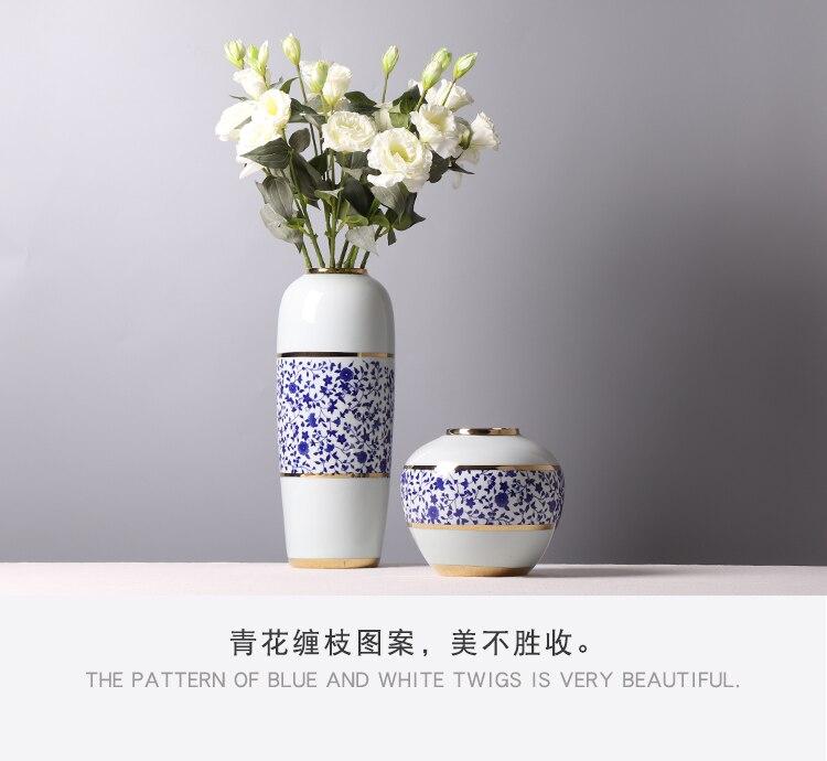 Chinese Style Ceramics Vase Porcelain Retro Home Living Room Flower Arrangement Hydroponic Accessories Desktop Decoration Vases