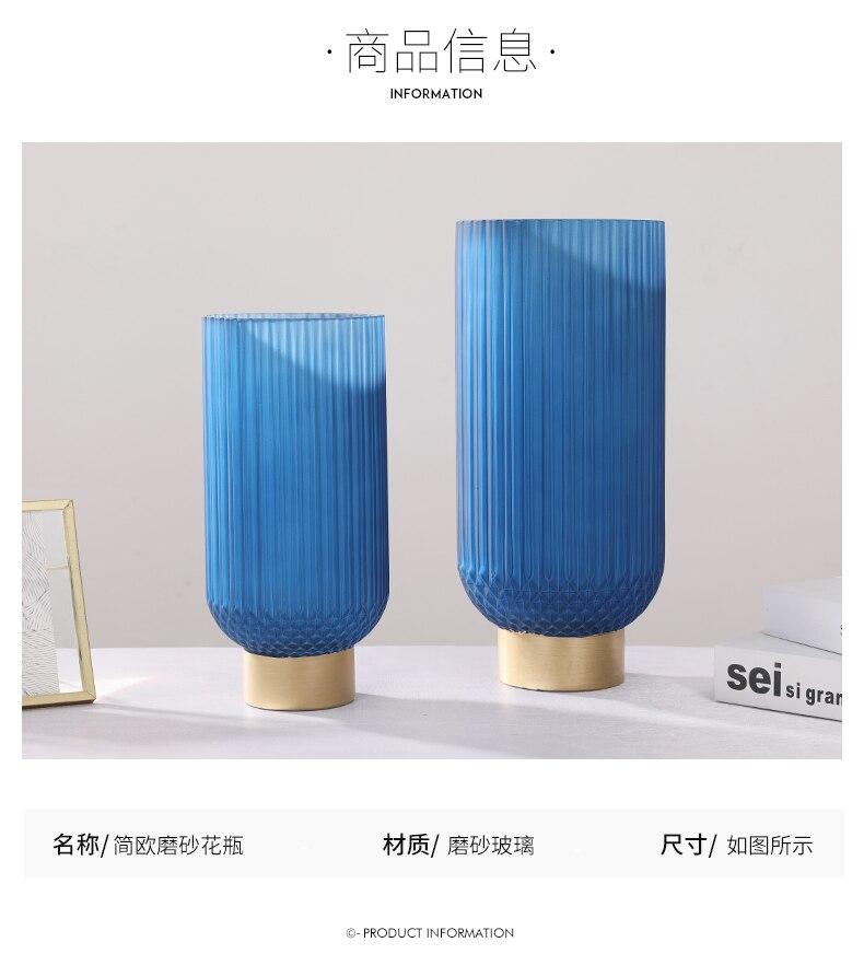 Creativity Glass Vase Blue Frosted Metal Golden Modern Home Desktop Flower Arrangement Hydroponics Accessories Decoration