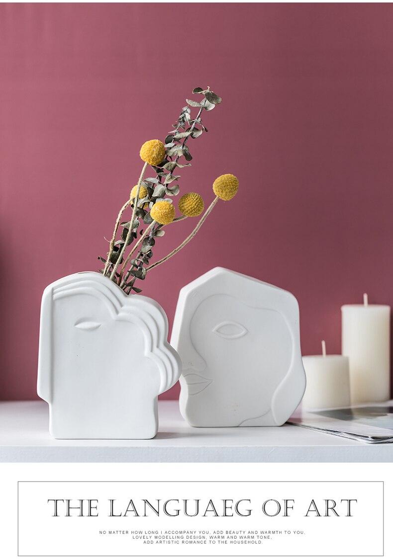 Creativity Ceramics Face Vase Abstract Sculpture Handicraft Decoration Flower Arrangement Modern Home Decoration Flower Vases