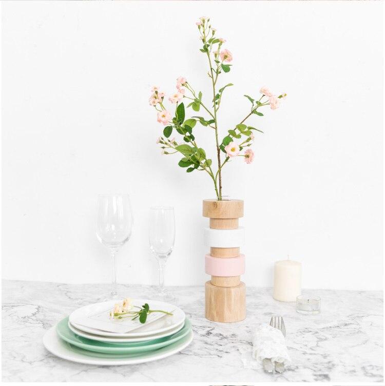 Nordic Creative Wooden vase Flower arrangement Flower vase Decorative ornaments modern Home living room Flower Solid wood