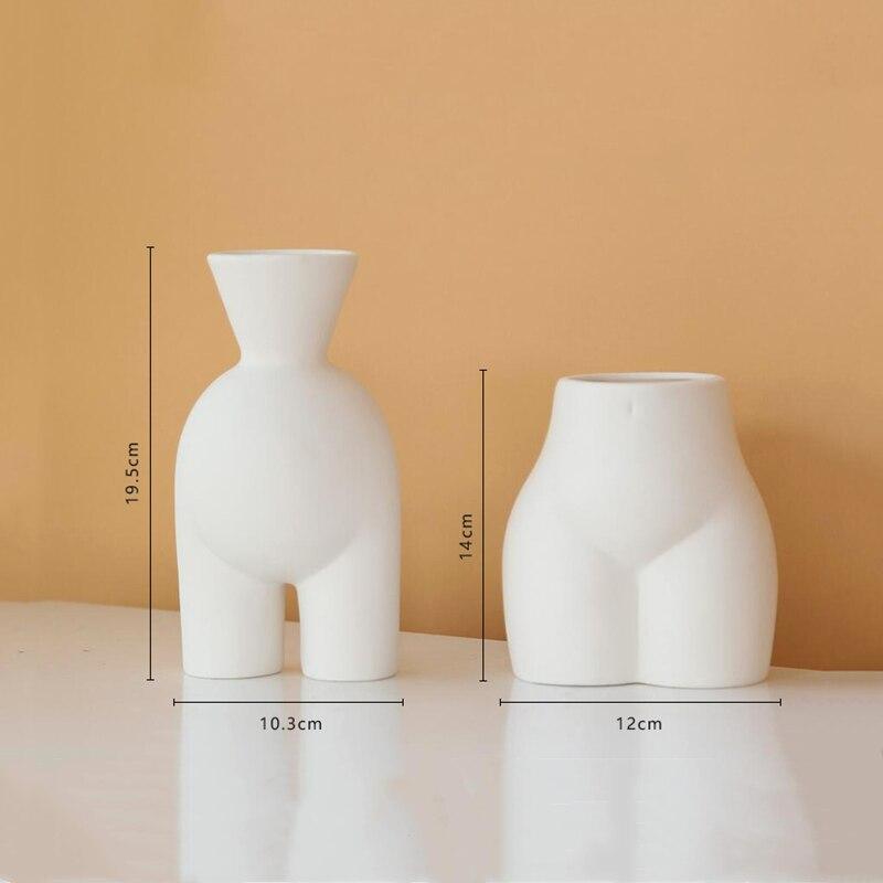 Creativity Ceramics Vase Abstract Human Body Sculpture Lower Body Manual Flower Vase Flower Arrangement Modern Decoration Vases