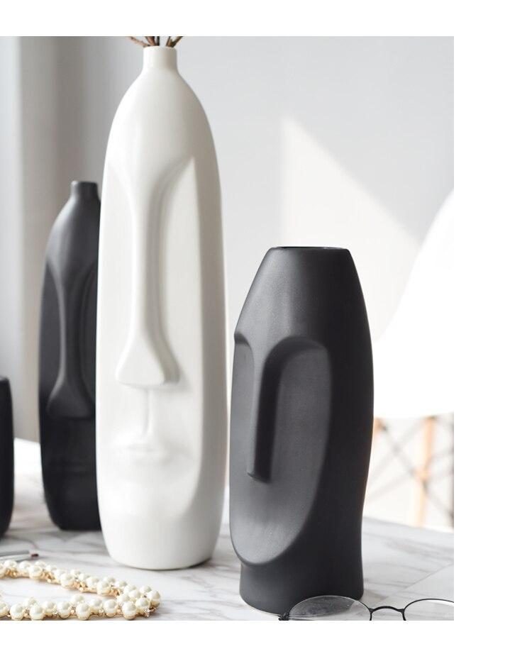 Nordic style Ceramic vase Simple art Head shape Flower vase Home living room decorations Creative decoration wedding vase