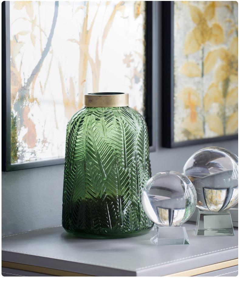 Nordic style modern green glass vase Decoration living room Flower arrangement Creative Golden rim Home living room decoration