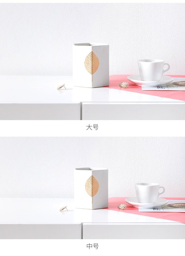 Nordic style modern white Ceramic vase flower pot Golden leaves Flower arrangement accessories Home dining table decoration