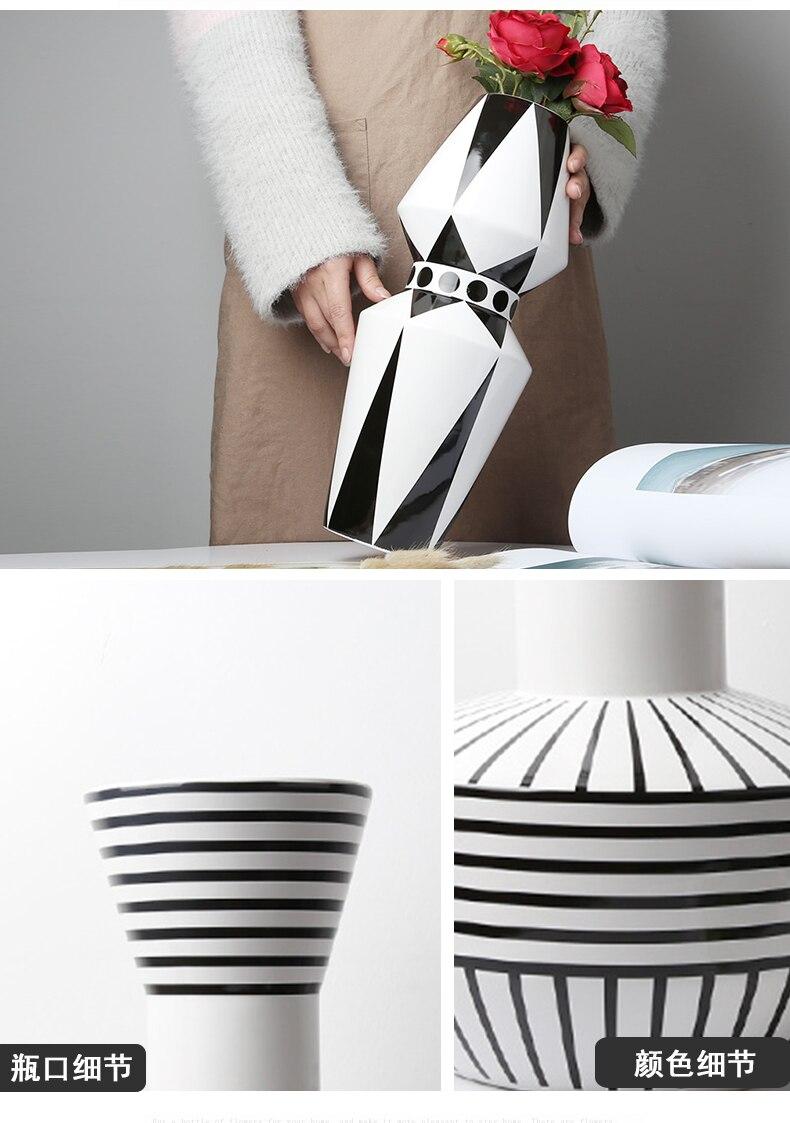 Nordic style Ceramic vase Decoration living room Flower arrangement accessories Simple Creative Black and white Flower vase