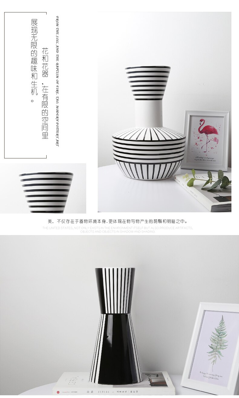 Nordic style Ceramic vase Decoration living room Flower arrangement accessories Simple Creative Black and white Flower vase