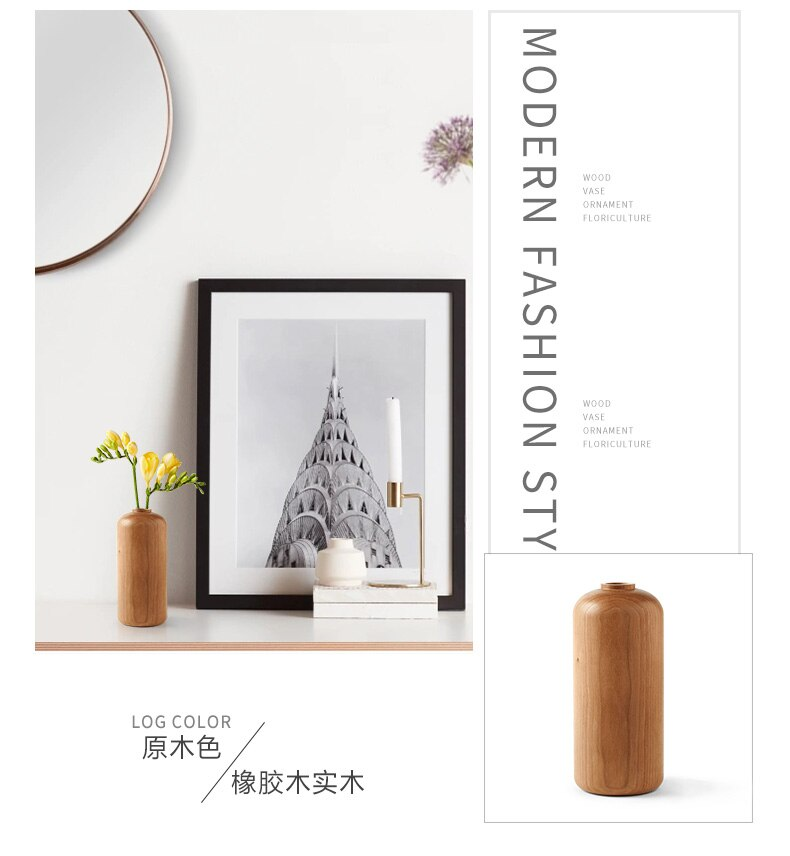 Creative Nordic style Wooden vase Decoration living room table Solid wood Ware Flower bottle ornament Home Decoration