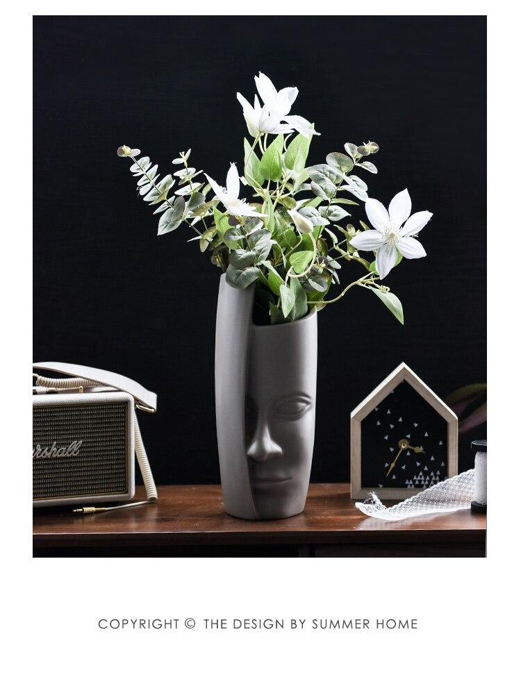 Nordic style Creative Human face Ceramic vase art Flower vase Home abstract ornaments Flower arrangement tall vases for wedding