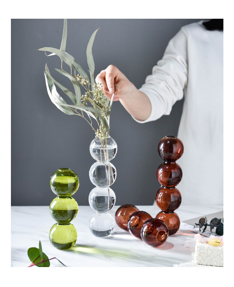 Creative Glass Vase Color Round Geometric Abstract Bubble Flower Vase Flower Arrangement Modern Home Desktop Decoration