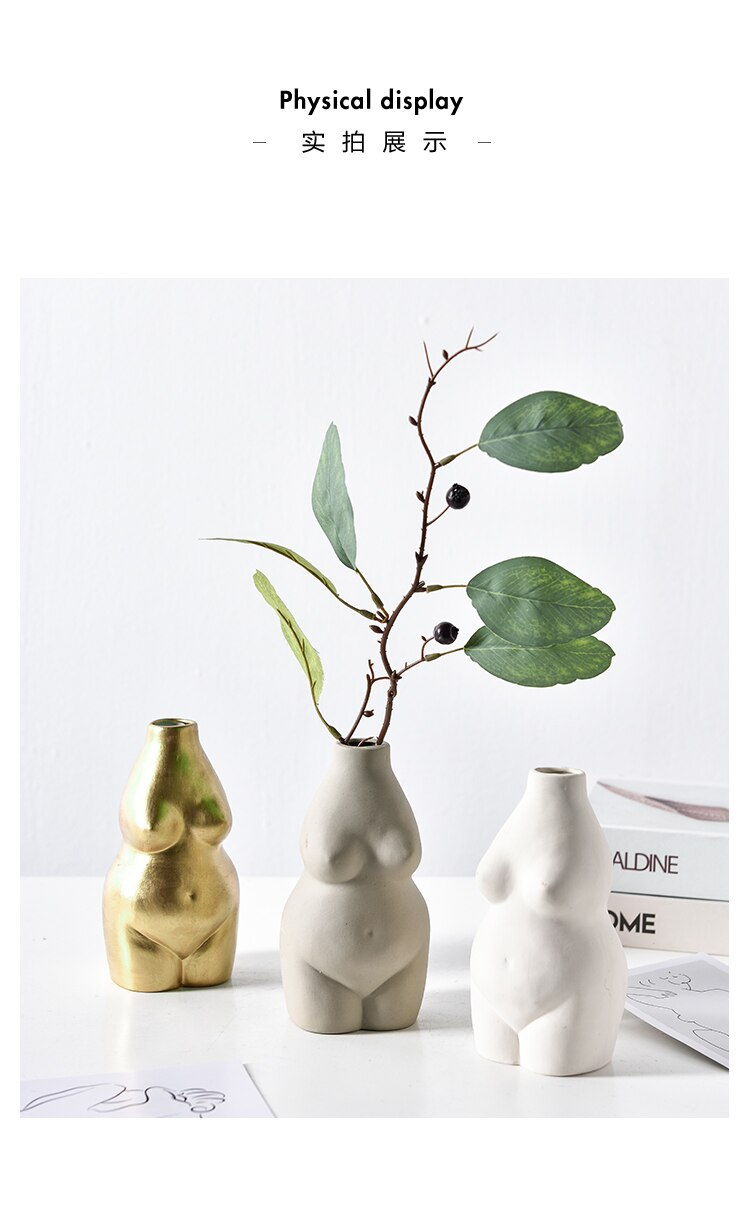 Creativity Vase Resin Human Body Nude Woman Flower Arrangement Desktop Decoration Living Room Flower Vase Decoration Accessories