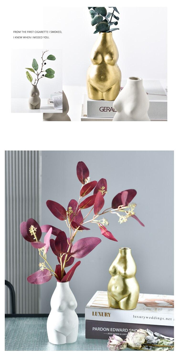 Creativity Vase Resin Human Body Nude Woman Flower Arrangement Desktop Decoration Living Room Flower Vase Decoration Accessories