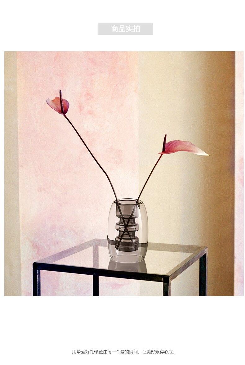Creative glass geometric vase Crafts Decoration Hollow out gray Flower arrangement living room desktop Transparent decoration