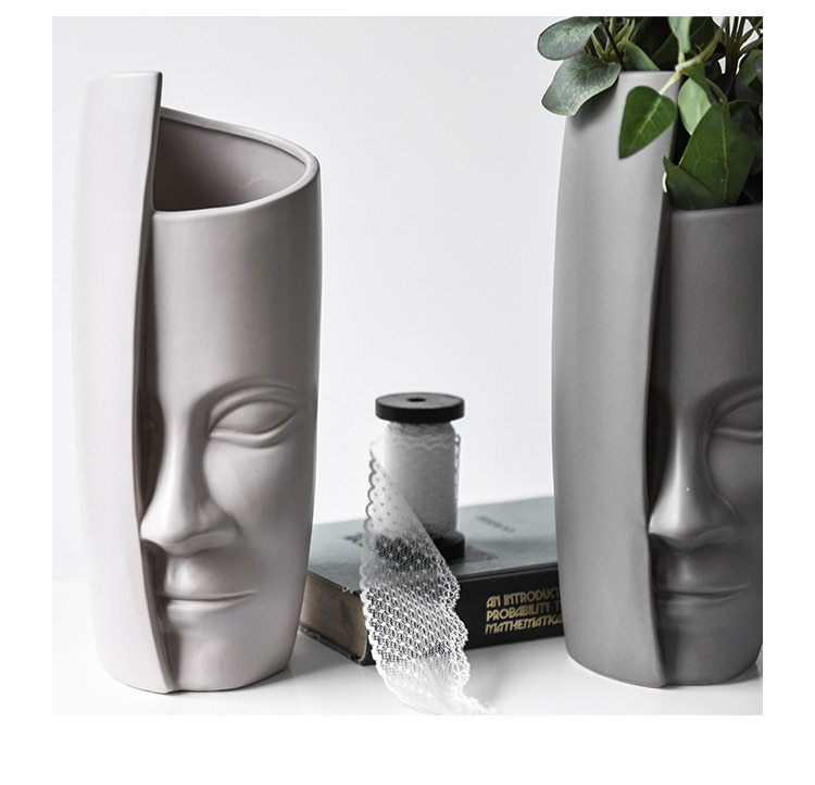 Creative Ceramic vase Human face Art decoration Home abstract decoration Artificial flower living room decoration vase statues