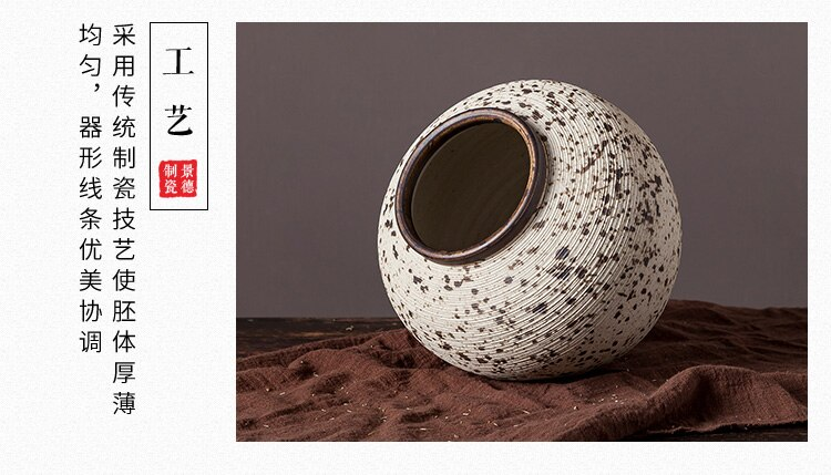 Ceramics Vase Stripe Spot Retro Flower Vase Decorative Ornaments Modern Minimalist Modern Home Desktop Decoration Furnishing
