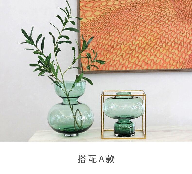 Creative glass vase Flower arrangement Hydroponics Transparent green Modern home living room Desktop decoration weeding vases