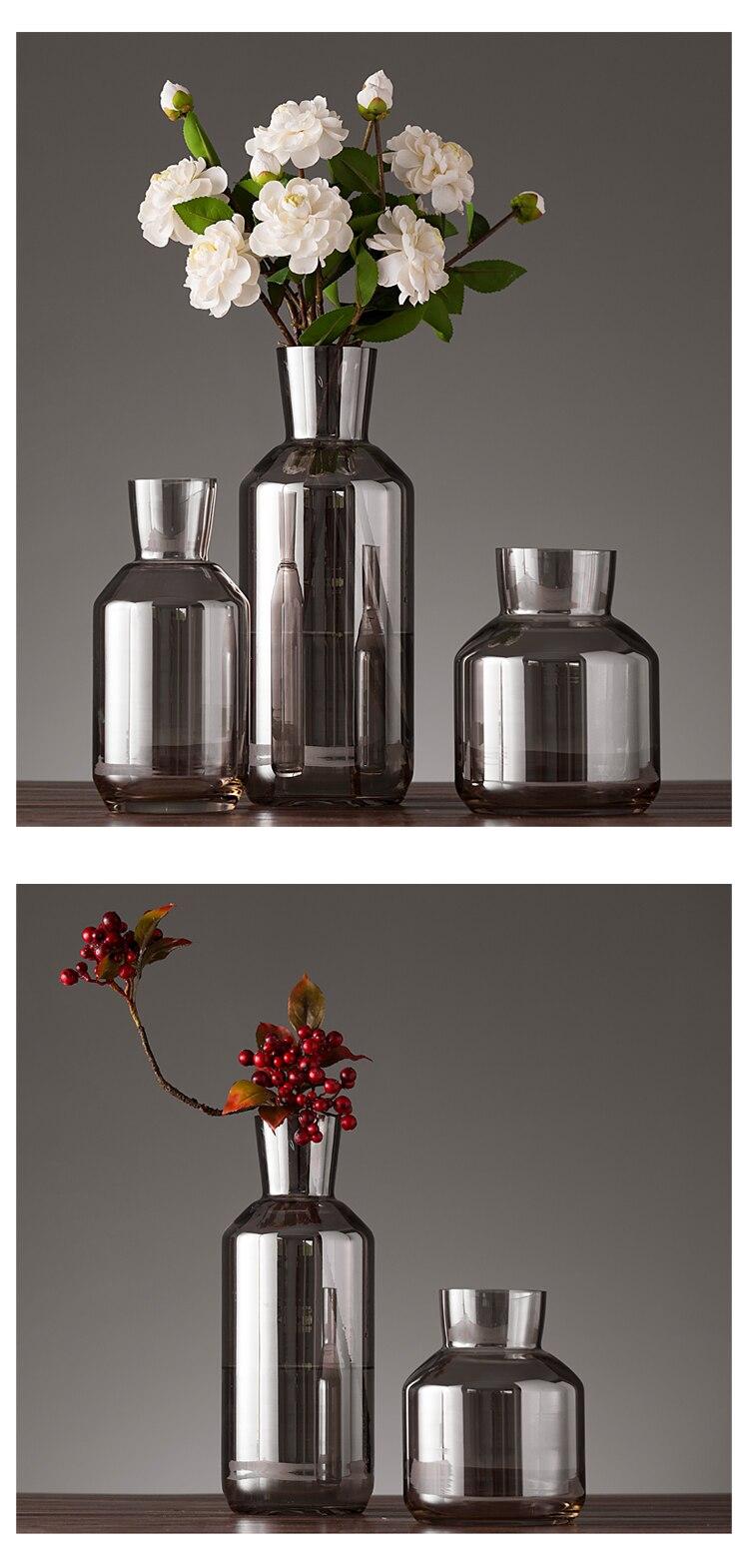 Nordic Creative Transparent glass vase Home modern living room desktop decoration accessories Flower arrangement vase Hydroponic
