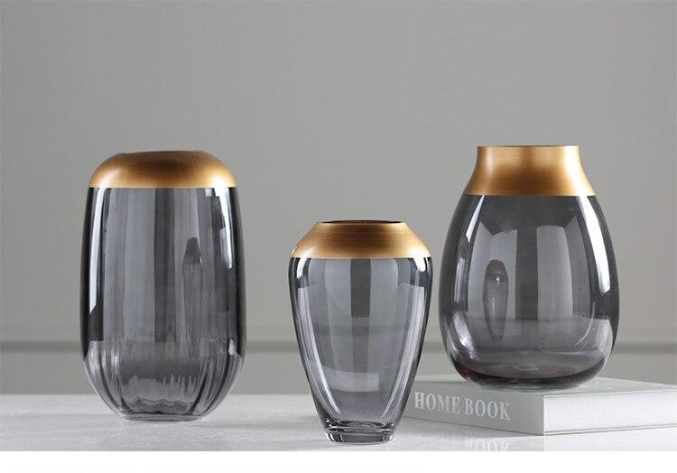 glass Gold vase Nordic outline in gold gray Transparent vase Hydroponics Flower arrangement Modern home living roo decoration