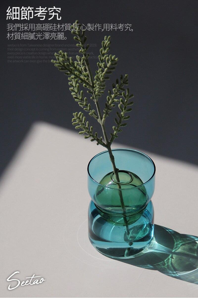Creative geometric Round glass color Transparent vase Flower arrangement Modern home Hydroponics decoration Crafts accessories