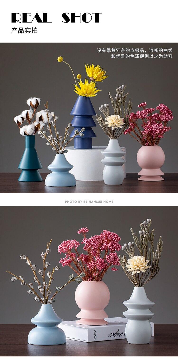 Nordic ceramics vase design Modern home living room flower arrangement Flower vase Creative Countertop vase Decorative ornaments