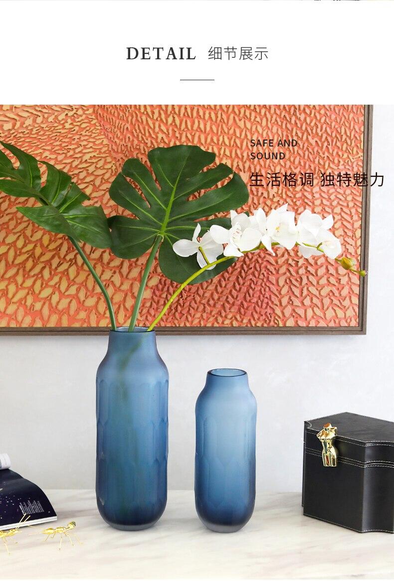 Creative glass vase Transparent Decorative ornaments Flower arrangement Hydroponics Modern living room decoration blue wedding
