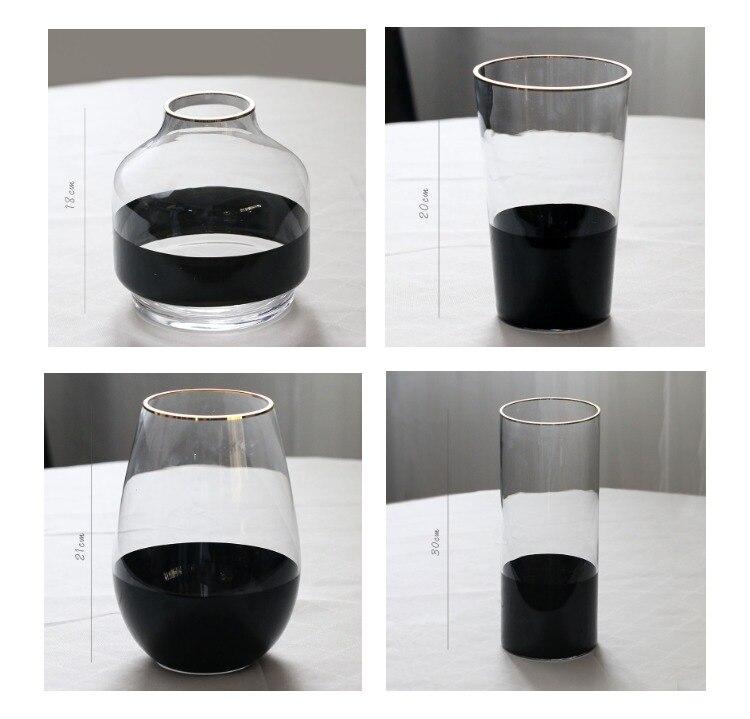 Nordic Creative glass Black gold Transparent vase Flower arrangement accessories Modern home living room Decorative ornaments