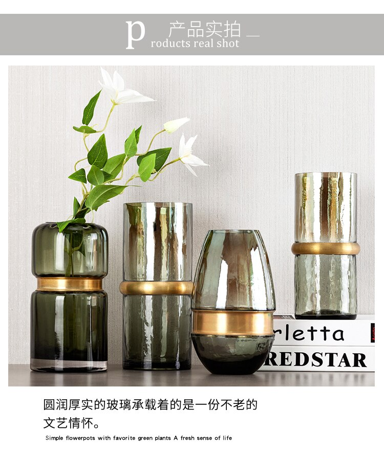 Creative glass vase Transparent Gold Flower arrangement accessories abstract Modern home living room Decorative ornaments