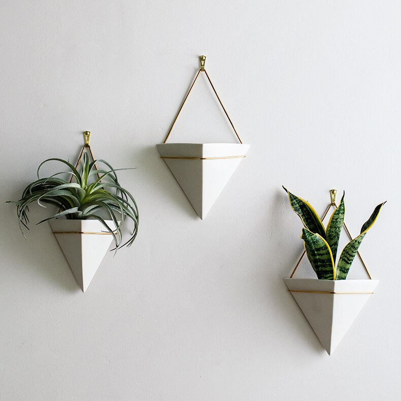 Creative Nordic style Ceramic wall hanging vase Wall decoration flower pot Iron art Background wall Home Decoration