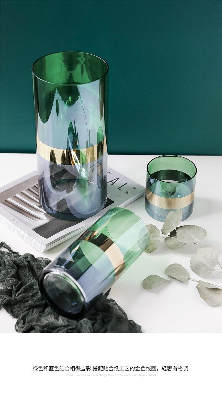 Nordic glass vase green Gold vase Hydroponics Creative Modern home desktop flower arrangement Decorative accessories
