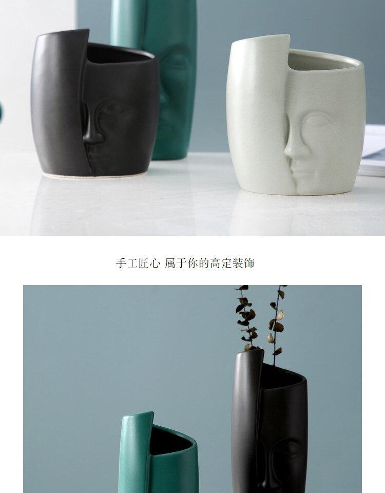 Nordic Creative ceramics vase abstract human face head Modern home decoration Crafts ornaments Flower arrangement accessories