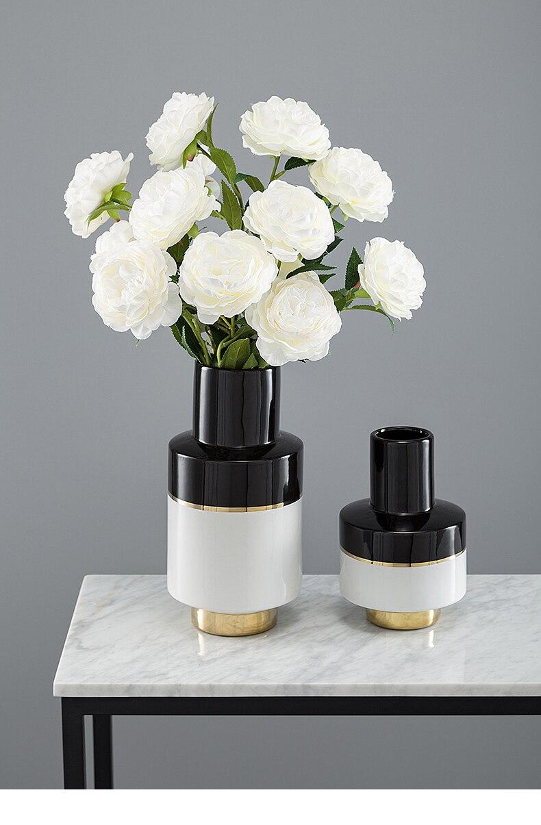 Nordic modern Black and white ceramics vase Home Flower arrangement accessories desktop Decorative ornaments gold vase