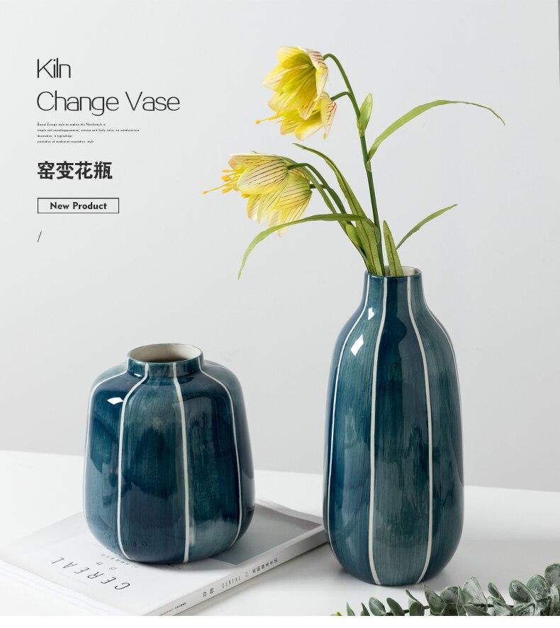 Nordic style Creative Ceramic vase Kiln change blue Simple home decoration living room Home Decorations wedding flower vases