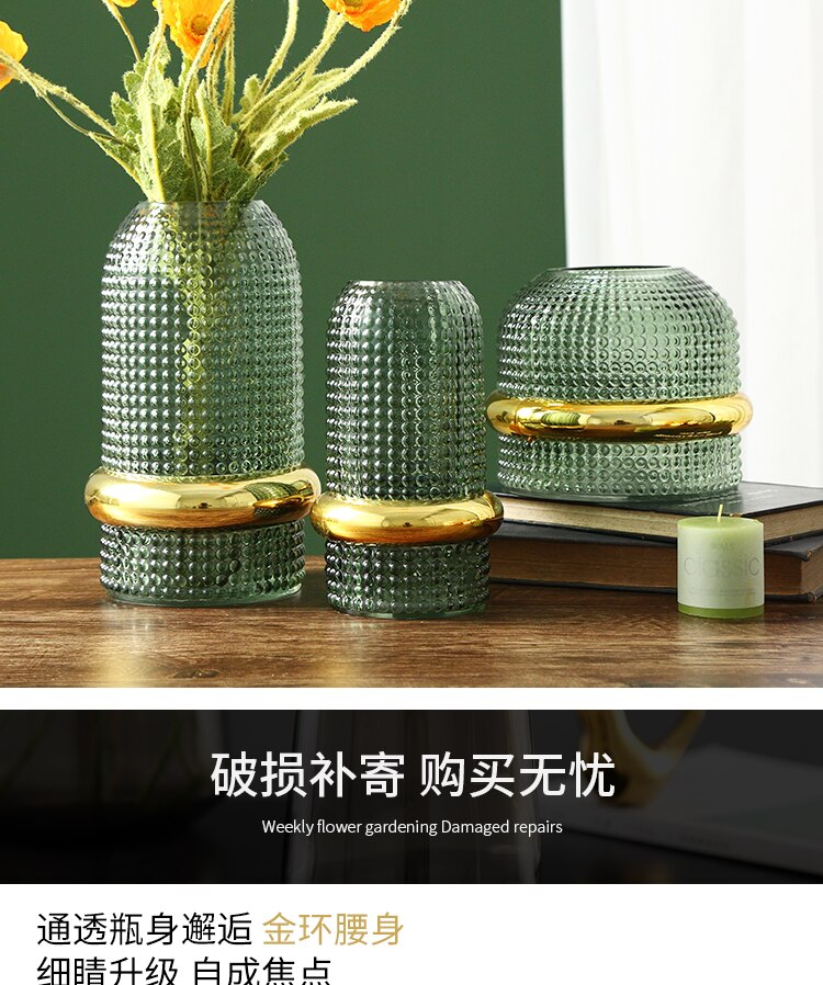 Creativity Glass Vase Golden Ring Transparent Flower Arrangement Hydroponic Accessories Modern Home Decoration Wedding Vases
