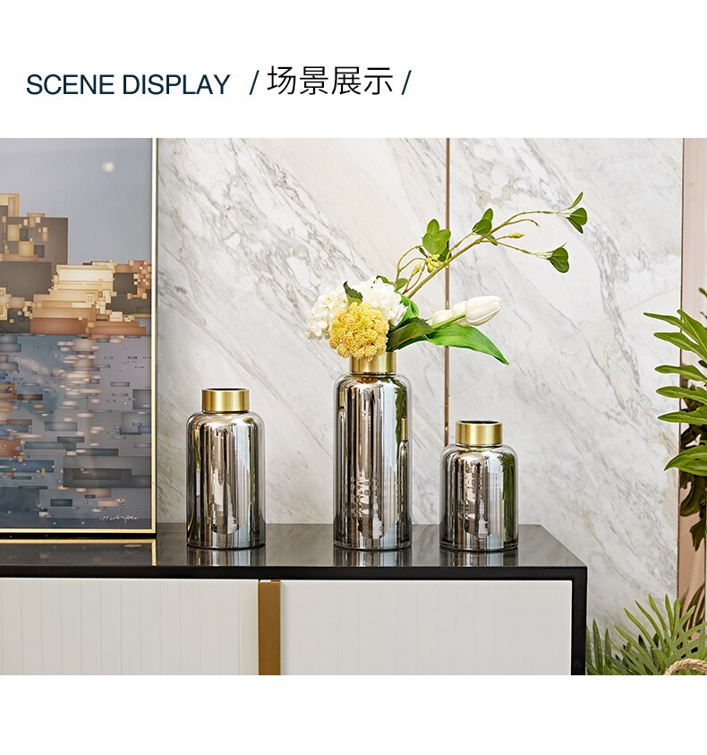 Nordic Creative glass metal Gold vase desktop Flower arrangement accessories Modern home decoration wedding gold vase