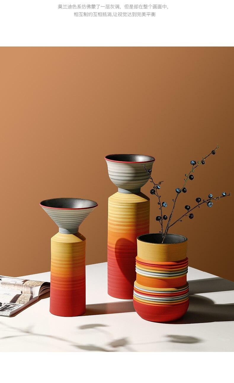 Creative Nordic ceramics color vase Flower arrangement accessories living room desktop Decorative ornaments Wedding decoration