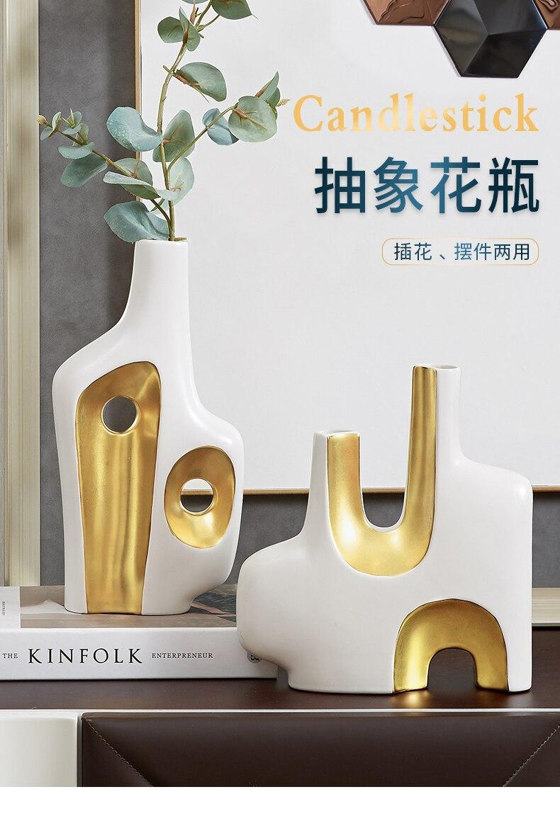 Creativity Ceramic Vase Golden Abstract Flower Arrangement Hydroponic Accessories Modern Home Decoration Handicraft Furnishings