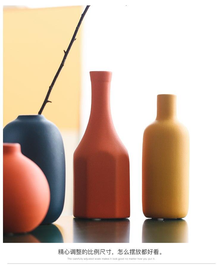 Creative Nordic ceramics vase color Flower arrangement accessories Decorative ornaments vases for centerpieces for weddings