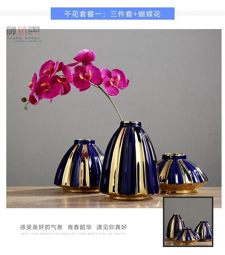 Creative Nordic Blue geometry Ceramic vase Flower arrangement Gold Modern home desktop Crafts ornaments Wedding decoration