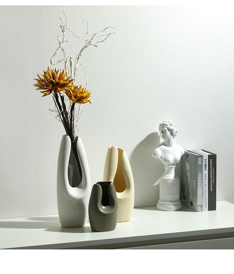 Creative Nordic style modern Ceramic vase Home Decoration Flower vase Flower arrangement accessories wedding decoration