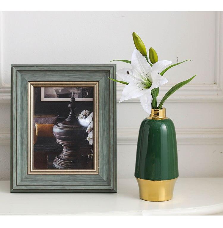 Nordic Creative ceramics vase green Gold Flower arrangement accessories Crafts ornaments Modern home decoration flower vases