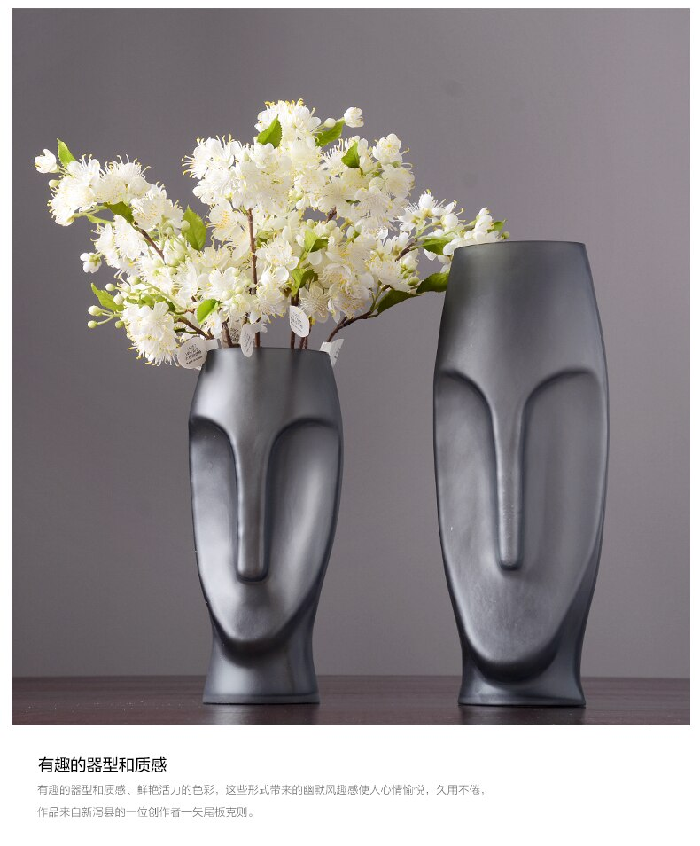 Creative Nordic Black glass abstract Human head glass vase living room Flower arrangement Decorative ornaments Modern