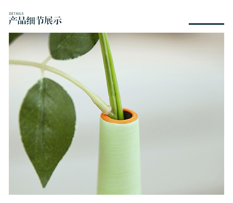 Nordic Creative modern ceramics vase green Flower arrangement accessories Home living room Decorative ornaments flower vase