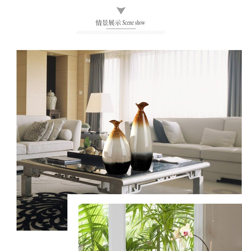 Creative Chinese Retro ceramics vase Crafts ornaments Flower arrangement Living room modern home Flower vases wedding